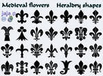 Medieval flowers Heraldry shapes