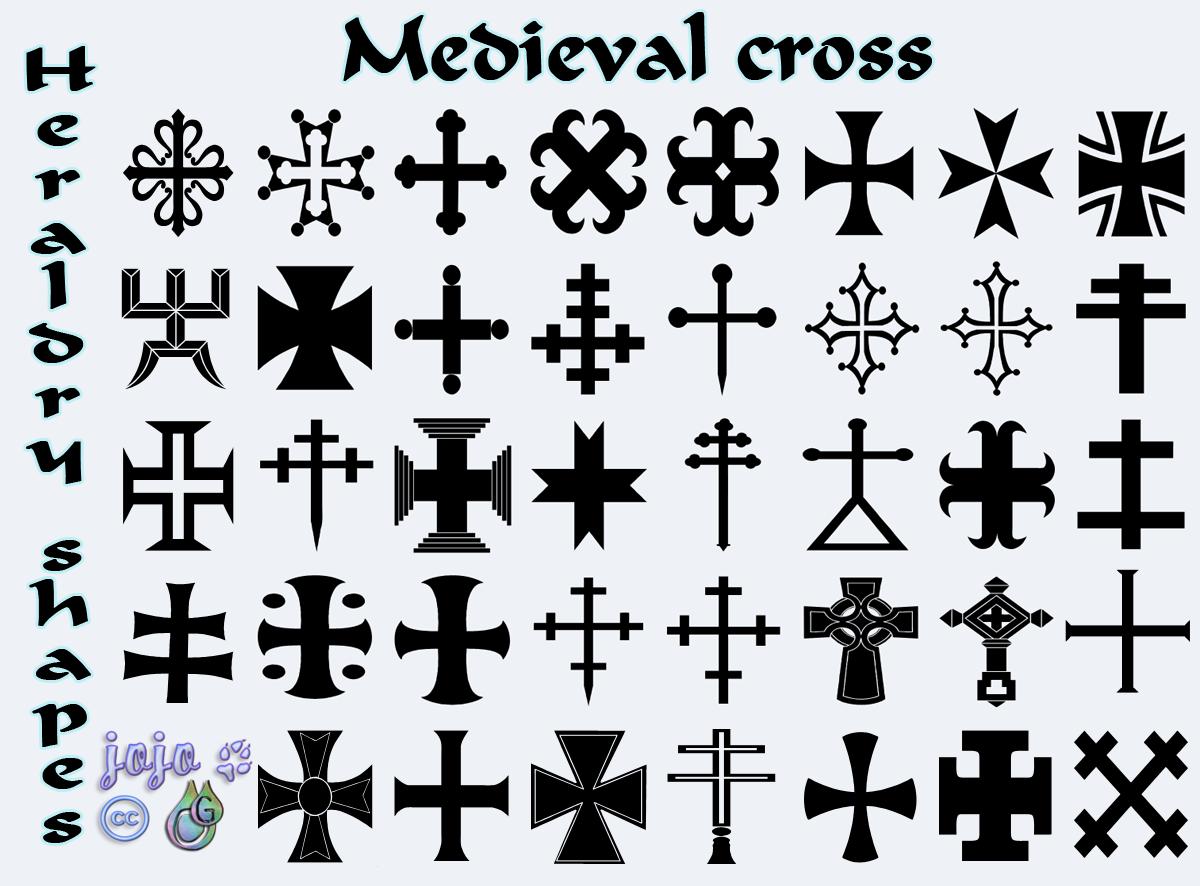 Medieval cross Heraldry shapes