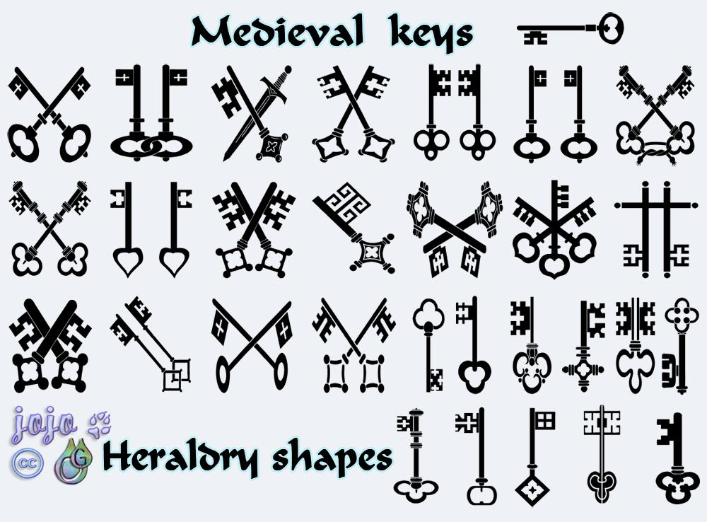 Medieval keys Heraldry shapes by jojo-ojoj on DeviantArt