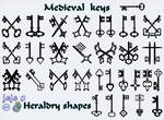 Medieval keys  Heraldry shapes