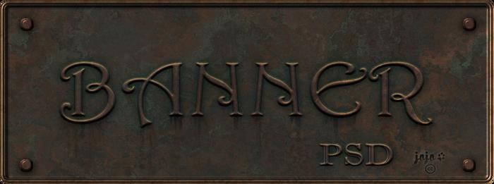Bronze metal banner PSD