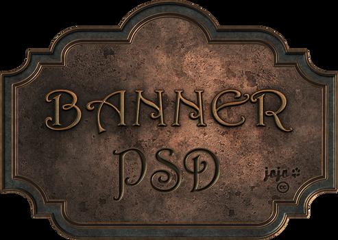 Bronze metal banner PSD 1