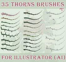 35 thorns brushes for Illustrator (AI) by jojo-ojoj