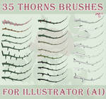 35 thorns brushes for Illustrator (AI)