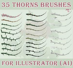 35 thorns brushes for Illustrator (AI)