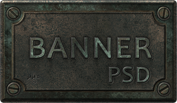 Bronze metal banner PSD 2