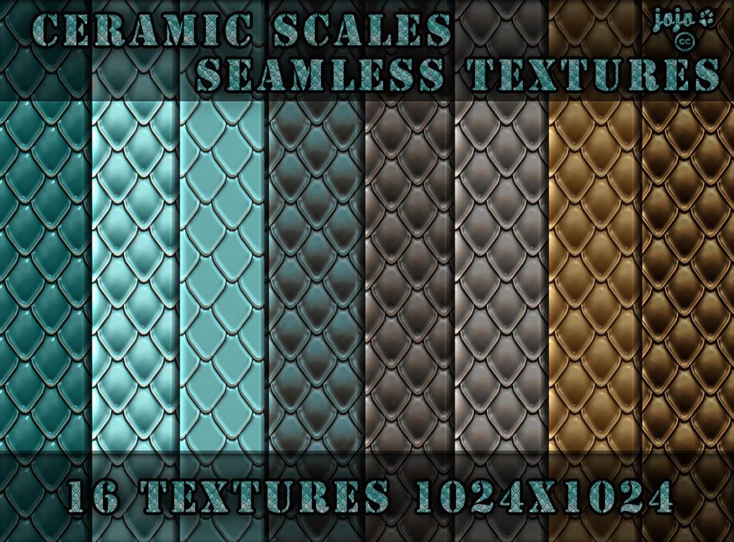 Ceramic scales seamless textures by jojo-ojoj