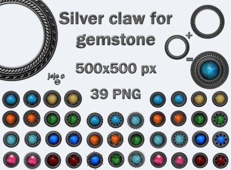 Silver claw for gemstone