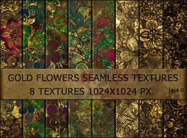 Gold flowers seamless textures by jojo-ojoj