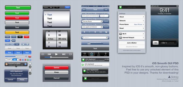 iOS Smooth GUI PSD