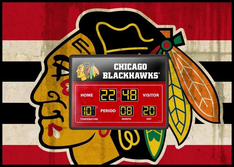 Chicago Blackhawks Scoreboard Clock by kjc66