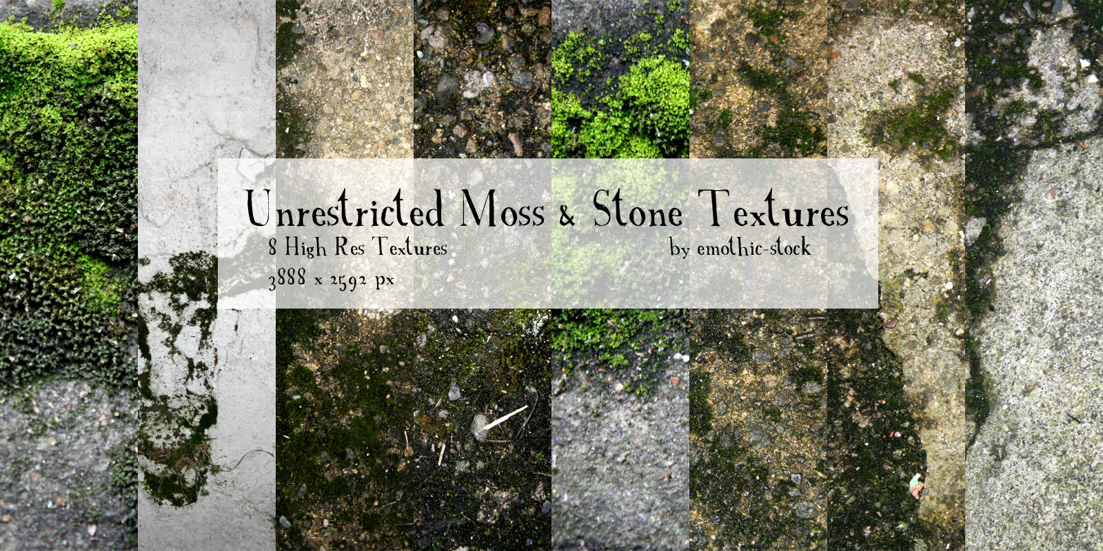 Unrestricted Moss and Stone Texture Pack by emothic-stock