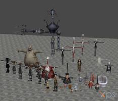 [XPS DL] KH: Halloween Town Model Pack by silverhikari
