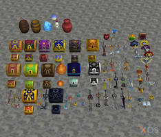 [XPS DL] KH2: Item and Weapon Model Pack by silverhikari