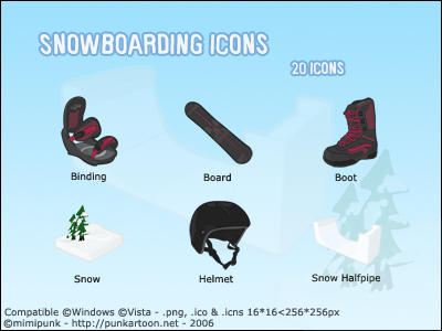 Snowboarding Icons by mimipunk