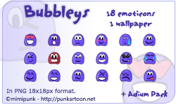 Bubbleys Emoticons by mimipunk