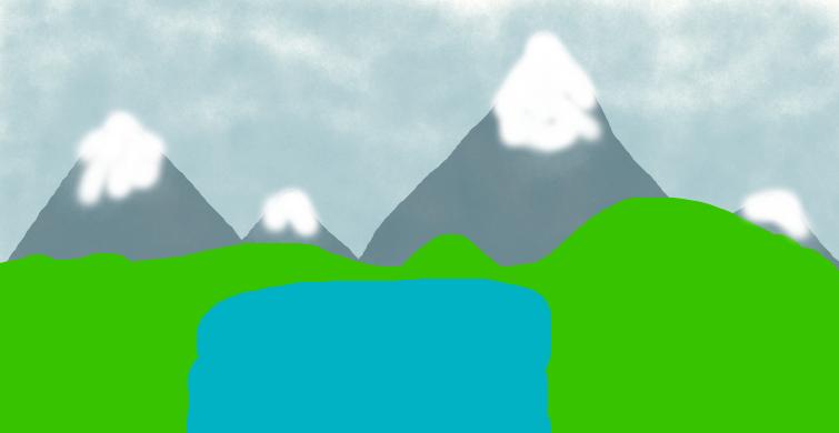 Speed Drawing: Lakeside w/ Mountains by JettTheWolf696