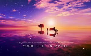 Your Lie In April -  Kaori/Kousei Sunset Wallpaper by CosmicWaffleBison
