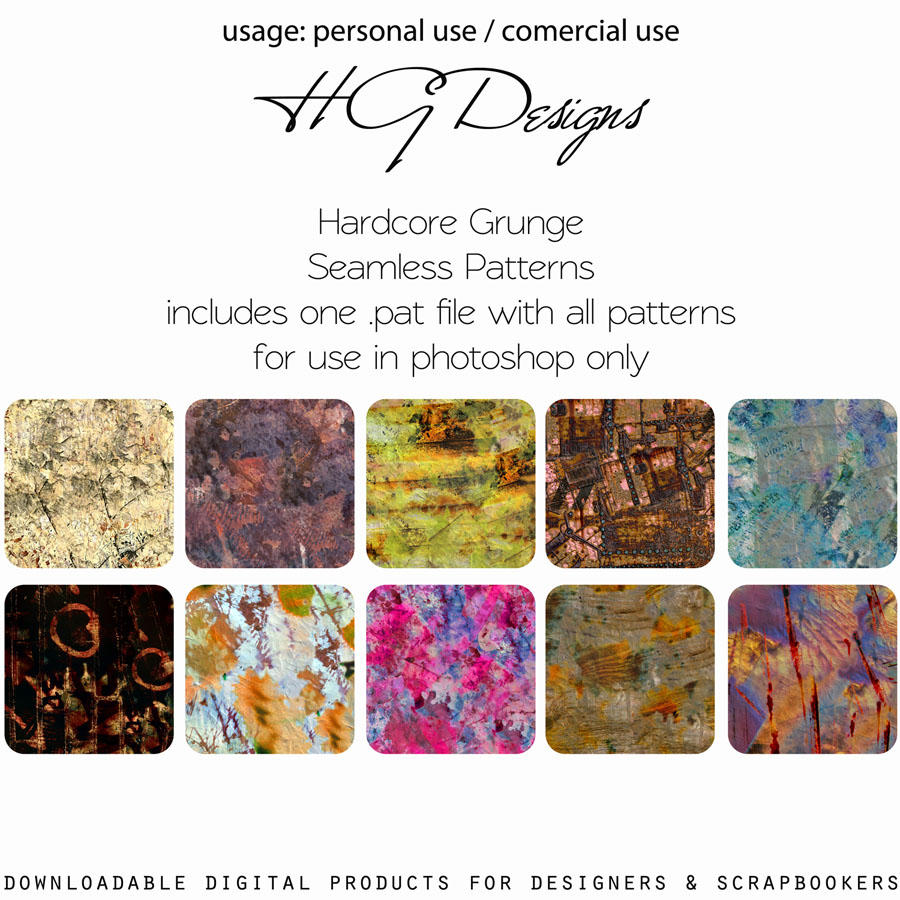 Hardcore Grunge Seamless Patterns by HGGraphicDesigns