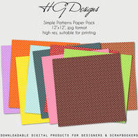 Simple Patterns Paper Pack by HGGraphicDesigns