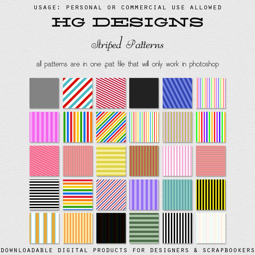 Striped Photoshop Patterns by HGGraphicDesigns
