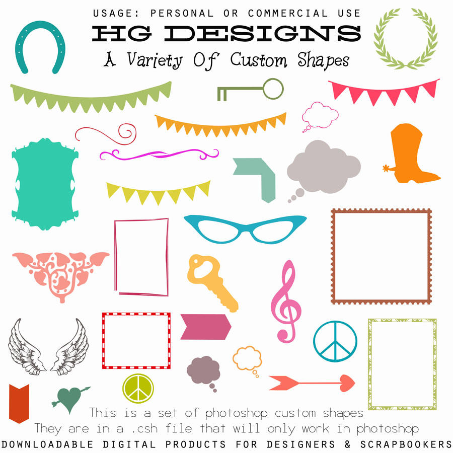 Variety Of Custom Shapes by HGGraphicDesigns