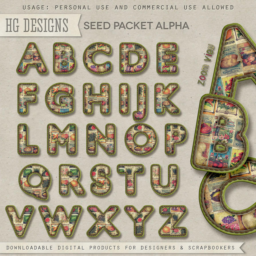 Free scrapbook seed packet alpha & glitter pieces from Cesstrelle