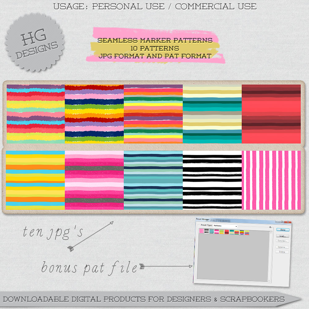 Seamless Marker Patterns by HGGraphicDesigns