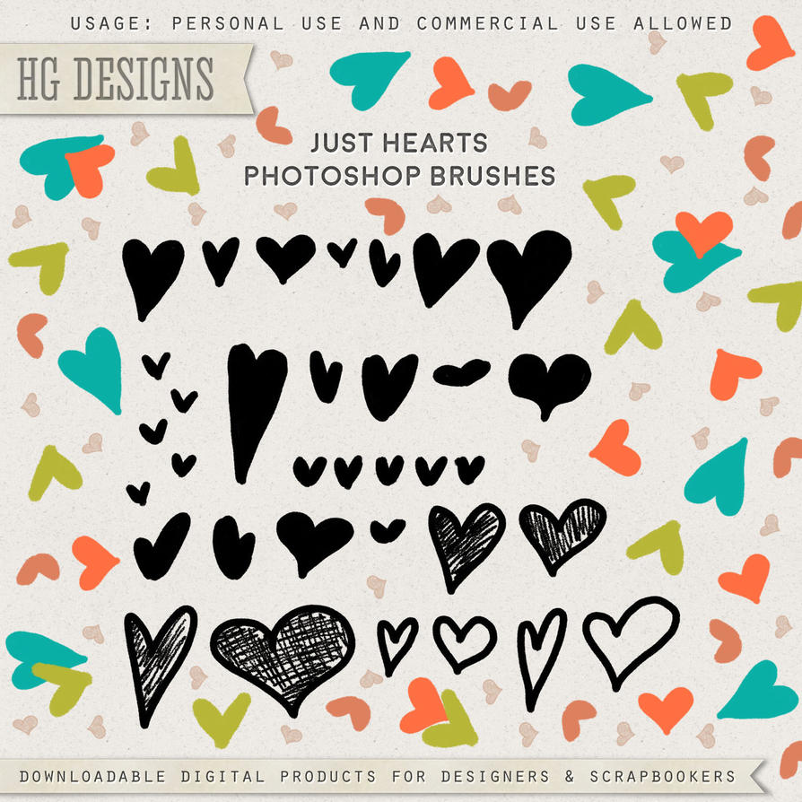 PS Brushes: Just Hearts by HGGraphicDesigns