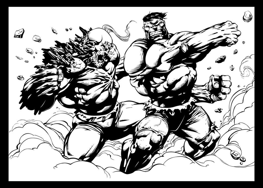 Hulk vs Doomsday - Pencils by Komus - Inks by CB. by CB-ComicArt