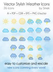 Vector Stylish Weather Icons