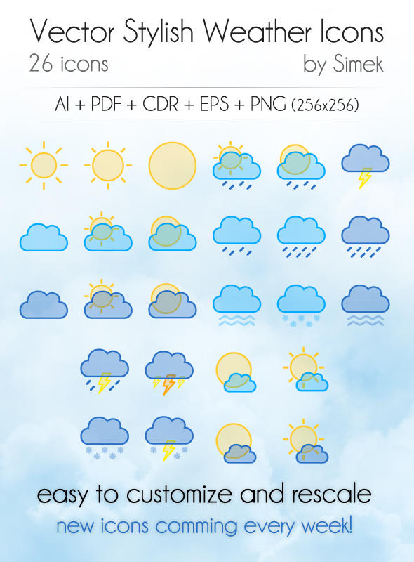 Vector Stylish Weather Icons by SimekOneLove