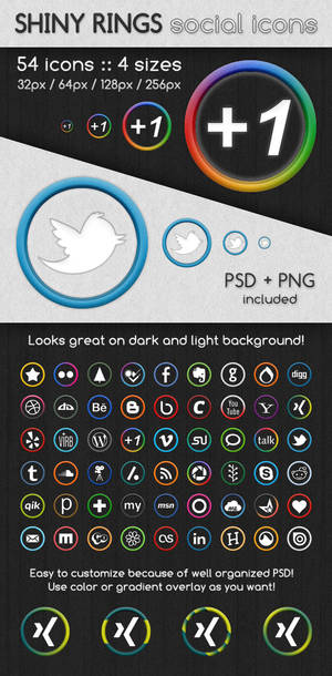 Shiny Rings Social Icons
