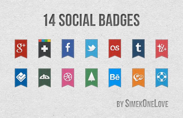 14 Social Badges by SimekOneLove