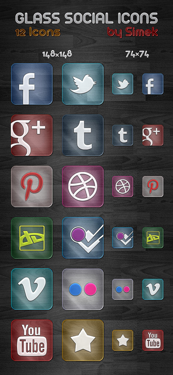 Glass Social Icons by SimekOneLove