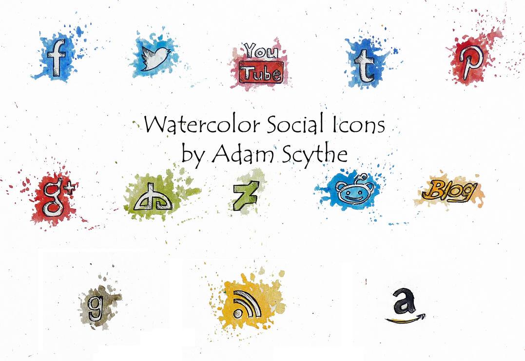 Watercolor Social Icons by AdamScythe