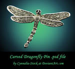 Dragonfly Pin - Carved