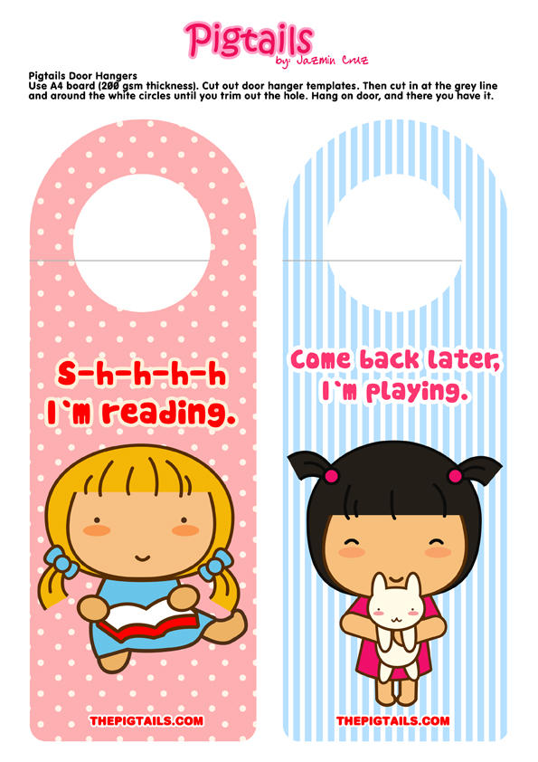Pigtails cute door hangers by jazgirl on deviantart for Cute papercraft templates