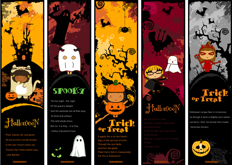 pigtails halloween bookmarks by jazgirl - Halloween Book Marks