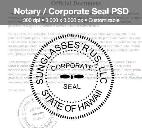 Corporate seal stamp template psd for Common seal template