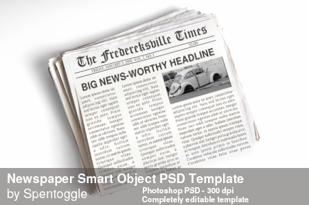 Newspaper Smart Object PSD Template by spentoggle
