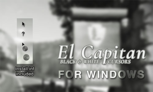Black and White El Capitan Cursors for Windows by spentoggle