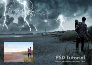 Lightning Storm (PSD File) by PhotoshopSupply by PsdDude