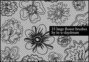 Handdrawn Flower Brushes by in-a-daydream