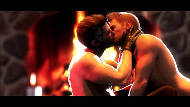 Chris Redfield and Piers Nivans Fireplace Kiss