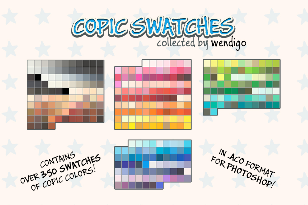 COPIC swatches for PS - Collected by Wendigo