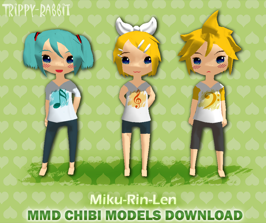 MMD Chibi Miku, Rin and Len Download - Trips by Trippy-Rabbit