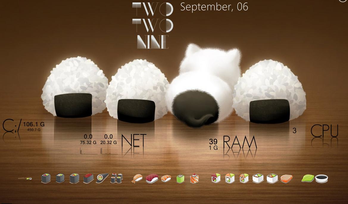 Onigiri Sushi Rainmeter Desk by TagsMagilicuty