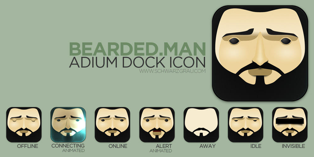 Bearded Man Adium Flurry Icon by pfuispinne