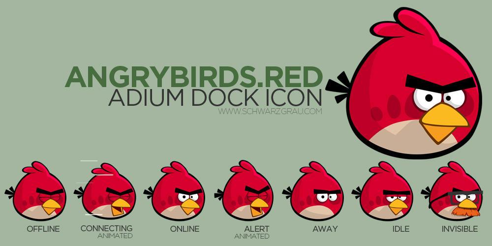 AngryBirds RedBird Adium Icon (7 iconos) - Pulse para descargar